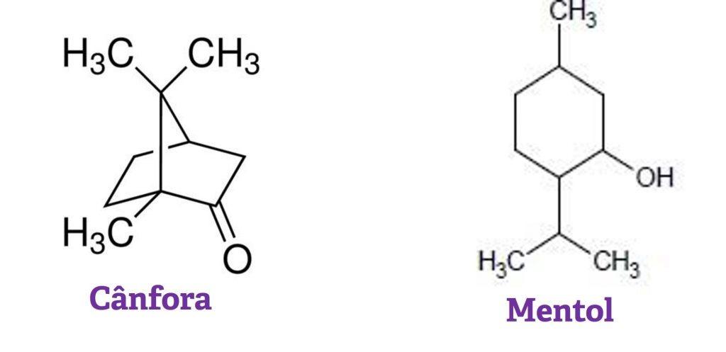 Estrutura química da Cânfora e Mentol