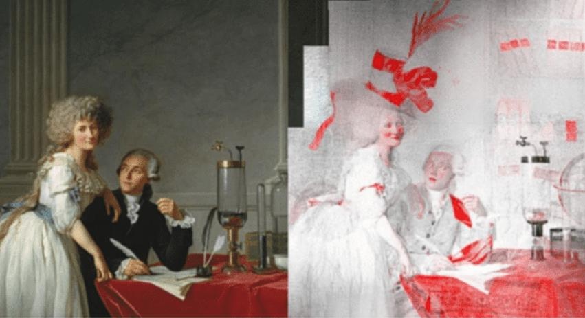Figura mostrando as alterações no quadro de Lavoisier e sua esposa
